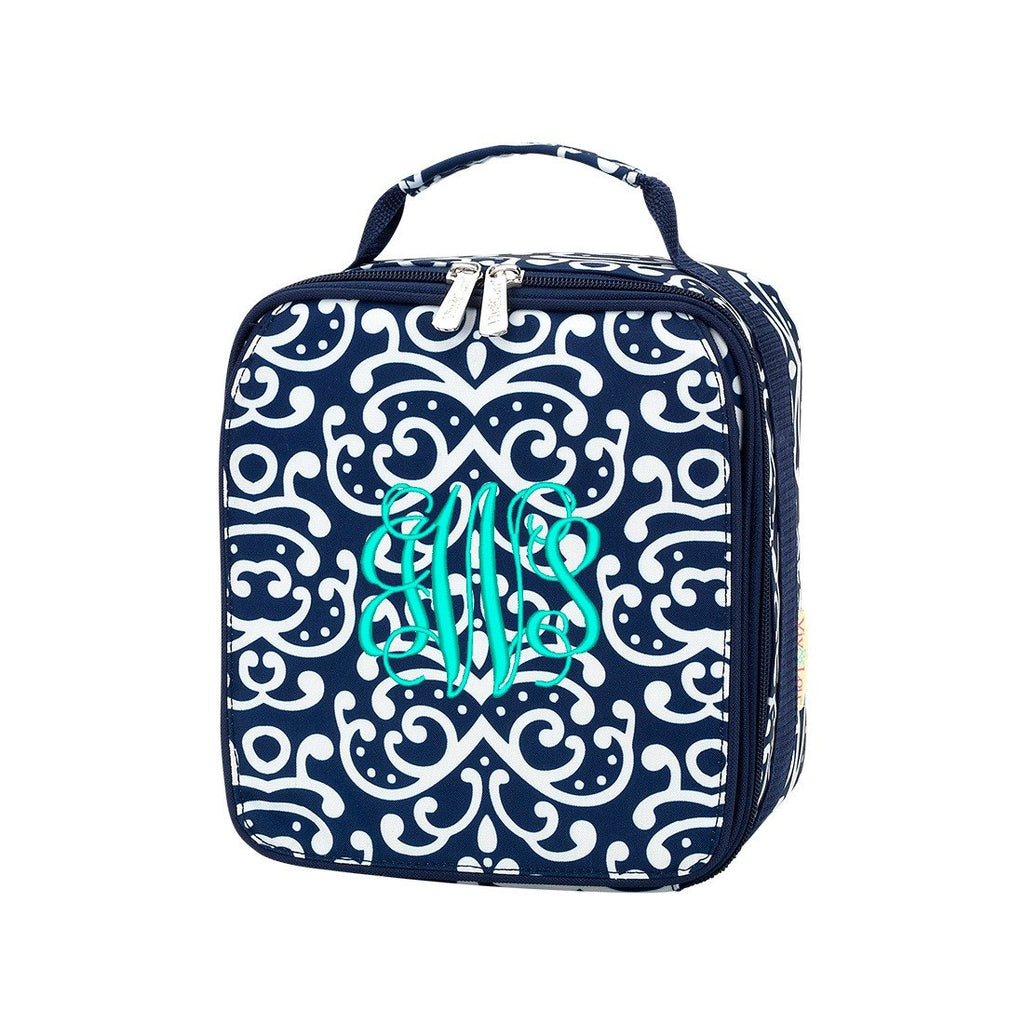 Personalized Lunch Bag - Monogrammed Lunchbox - Navy White Damask
