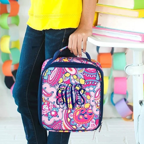 Personalized Lunch Bag - Monogrammed Lunchbox - Dark Pink Paisley