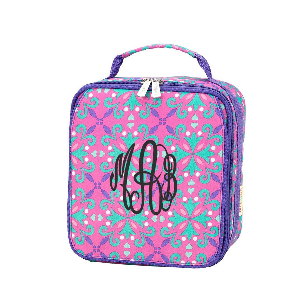 Personalized Lunch Bag - Monogrammed Lunchbox - Moroccan Pink Purple