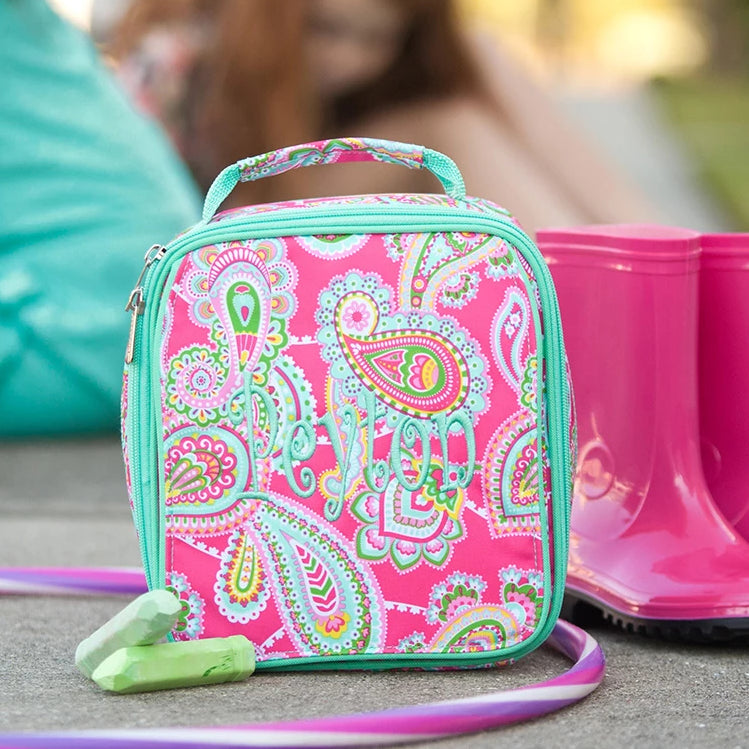 Personalized Lunch Bag - Monogrammed Lunchbox - Paisley Pink & Mint