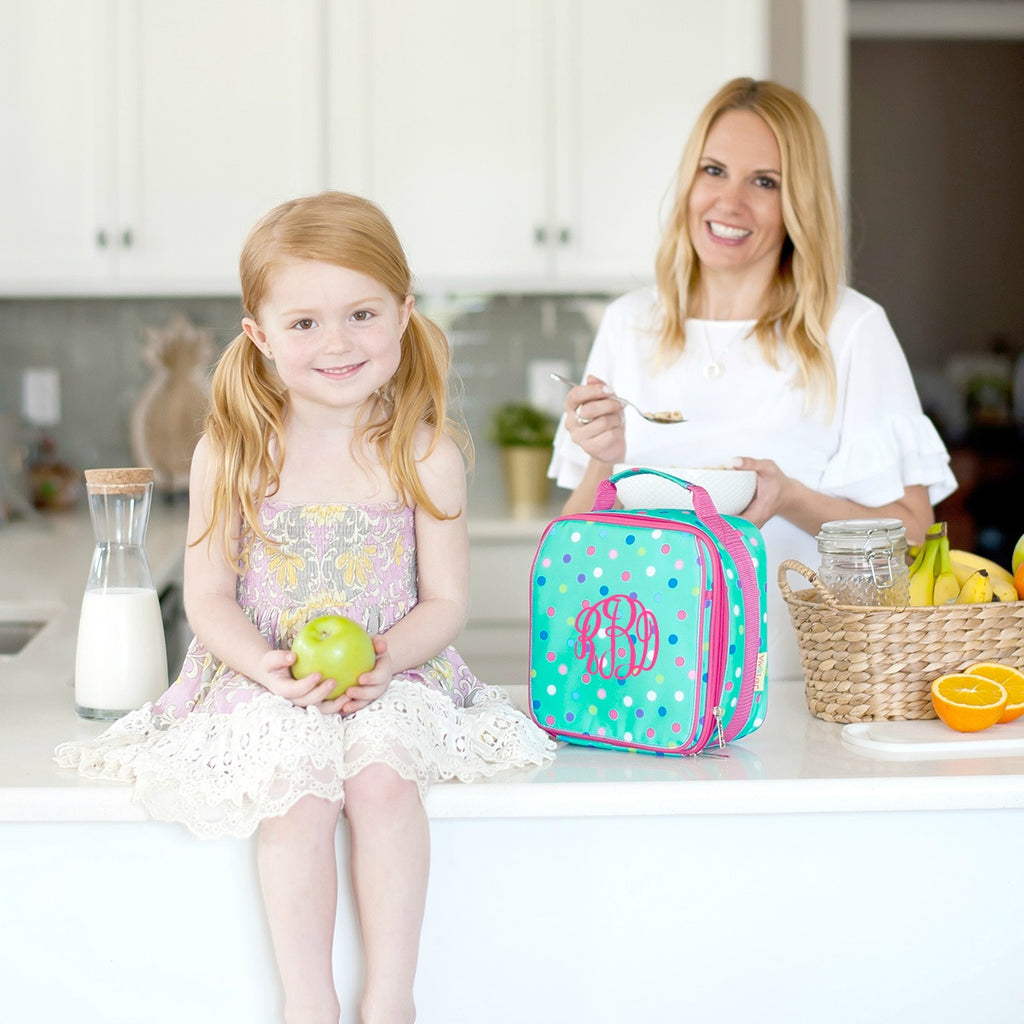 Personalized Lunch Bag - Monogrammed Lunchbox - Mint Polka Dot