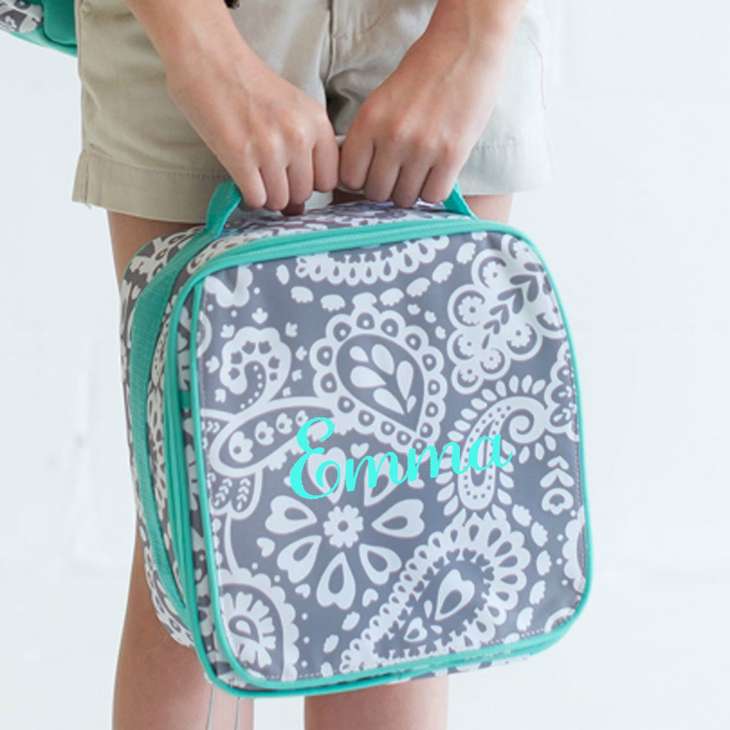 Personalized Lunch Bag - Monogrammed Lunchbox - Gray & Mint Paisley