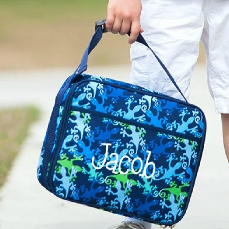 Personalized Lunch Bag - Monogrammed Lunchbox - Gecko