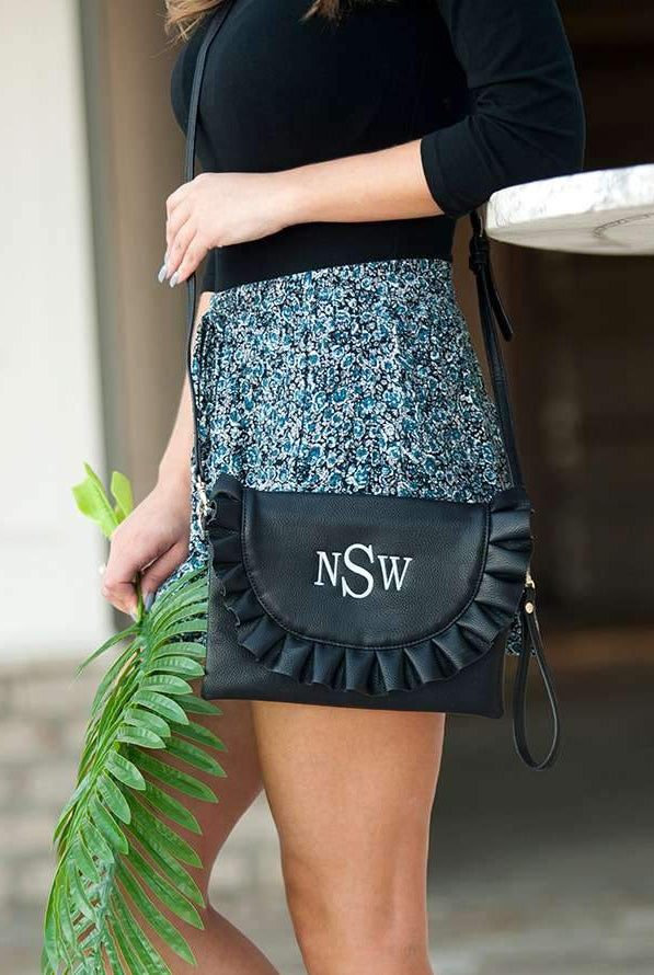 Personalized Ruffle Crossbody Purse with Wristlet