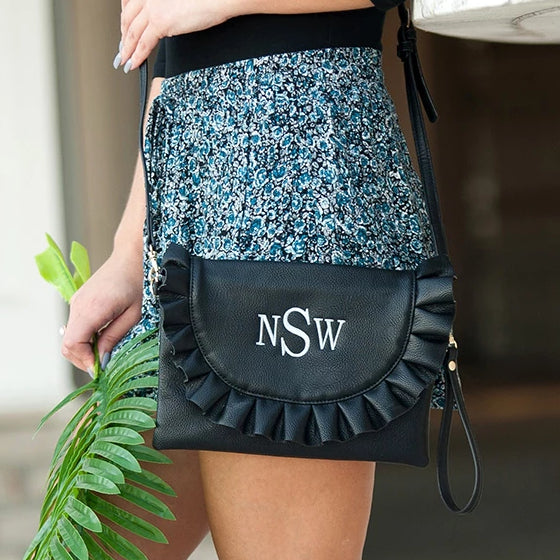 Personalized Ruffle Crossbody Purse with Wristlet - Black