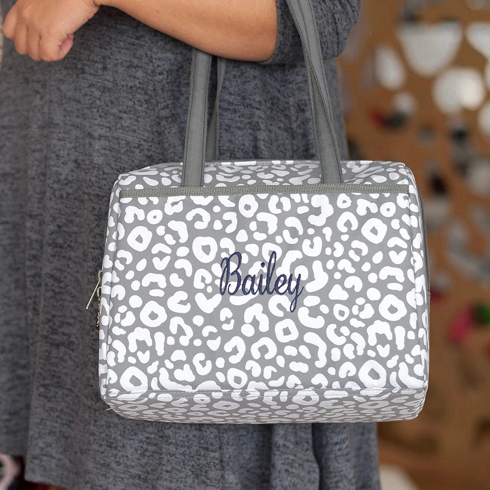 Personalized Lunch Bag - Gray Leopard