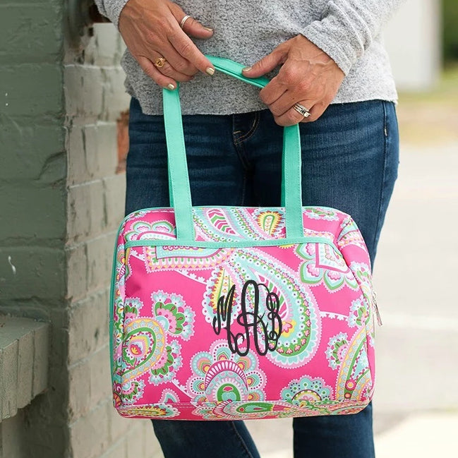 Personalized Lunch Bag - Paisley Pink & Mint