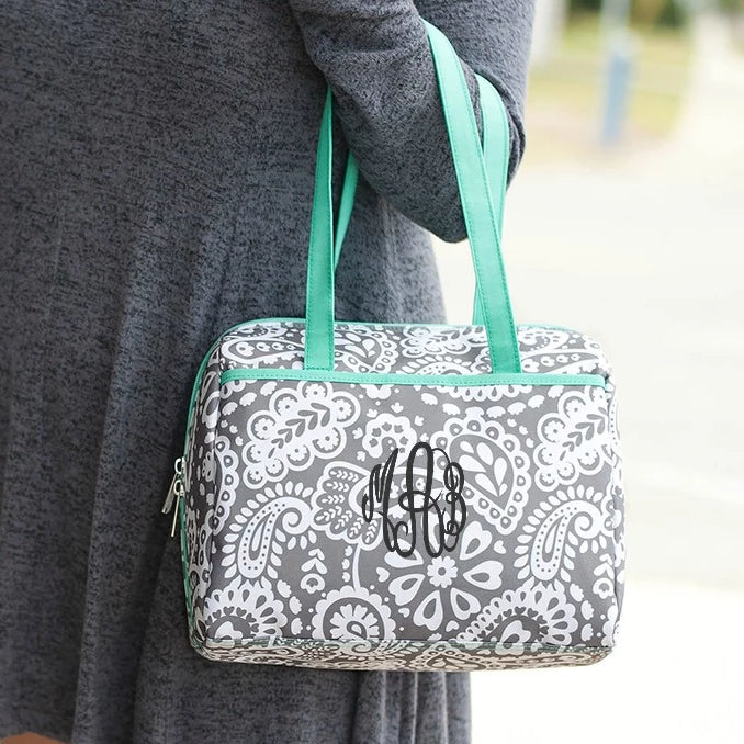 Personalized Lunch Bag - Paisley Gray Mint