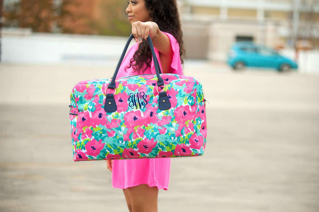 Personalized Large Weekender Bag - Floral Pop