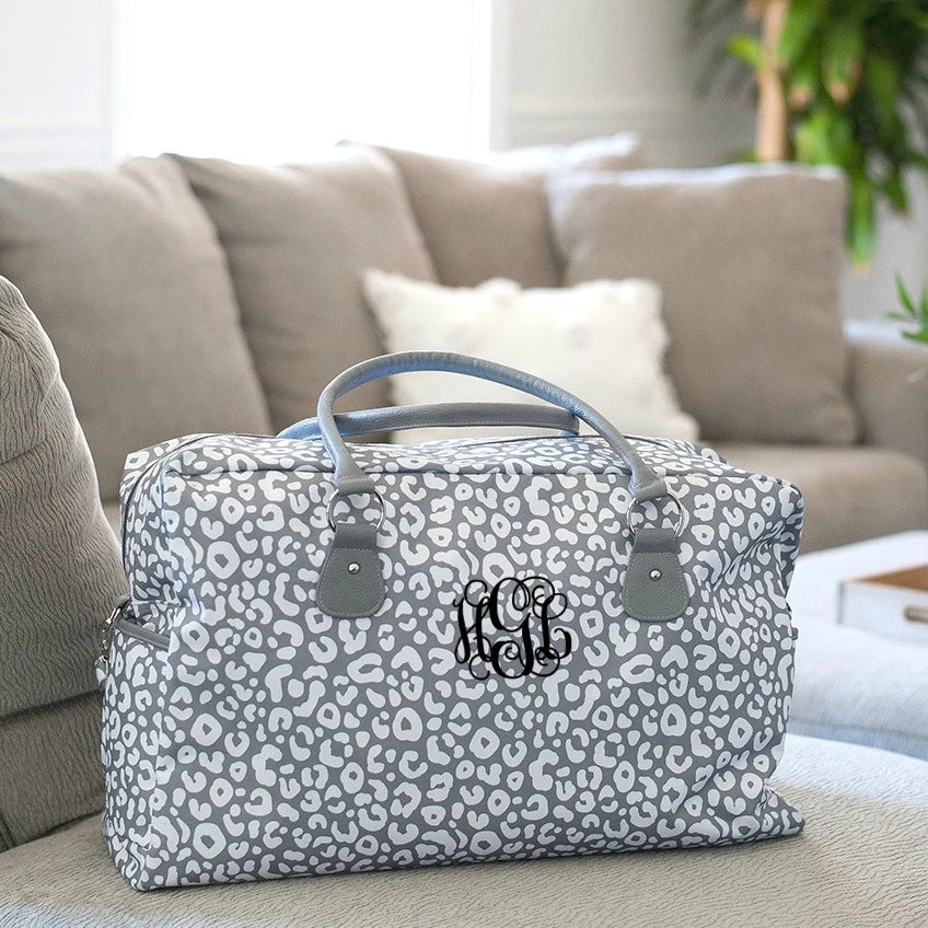 Personalized Large Weekender Bag - Gray Leopard