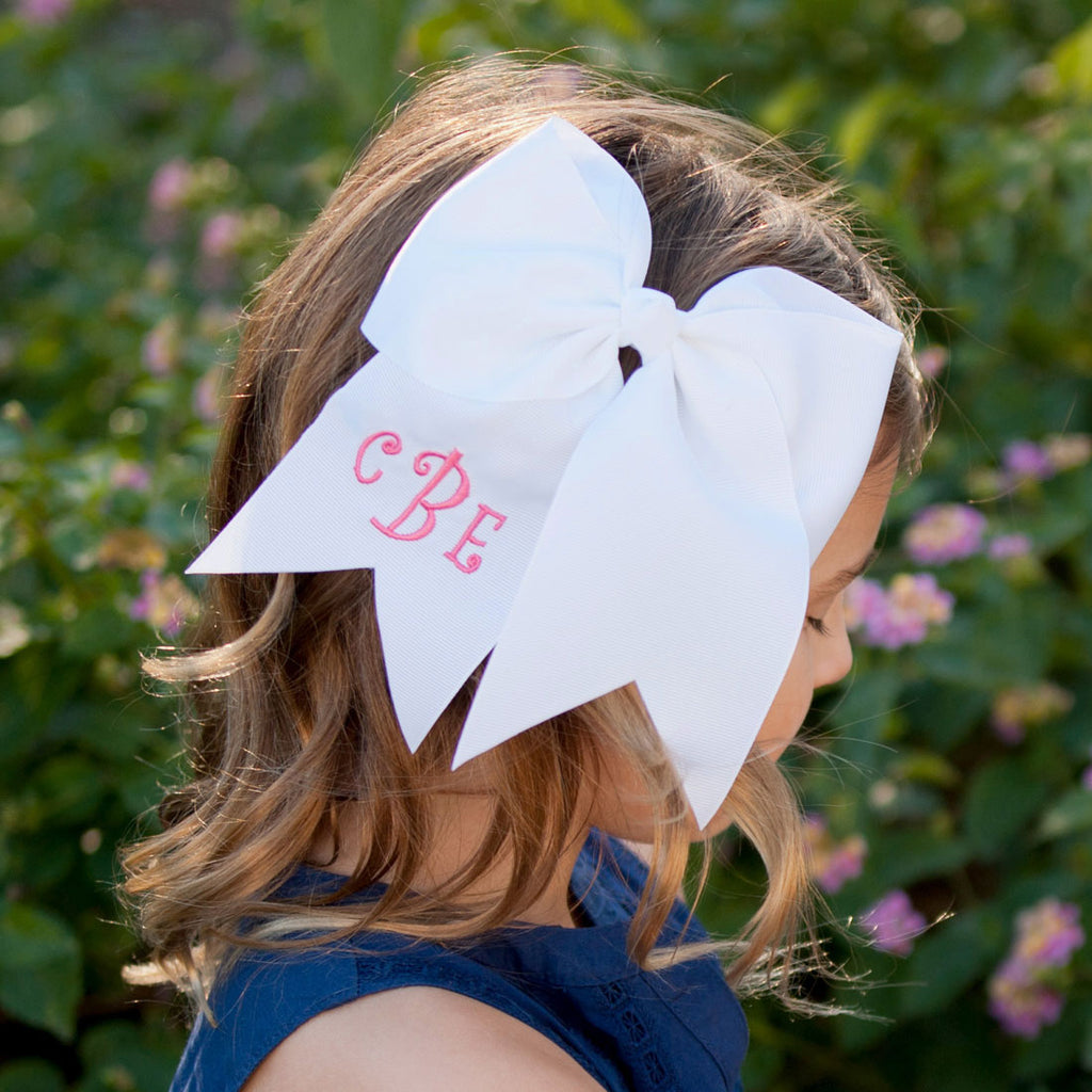 Monogrammed Large Girls Hair Bow - White