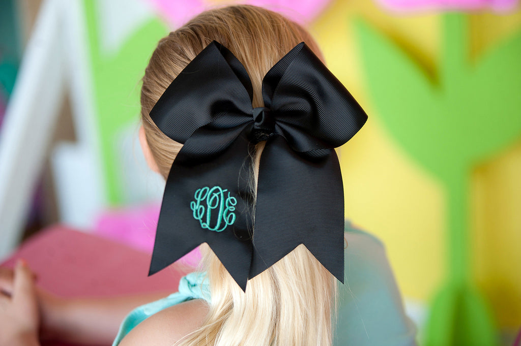 Monogrammed Large Girls Hair Bow - Black