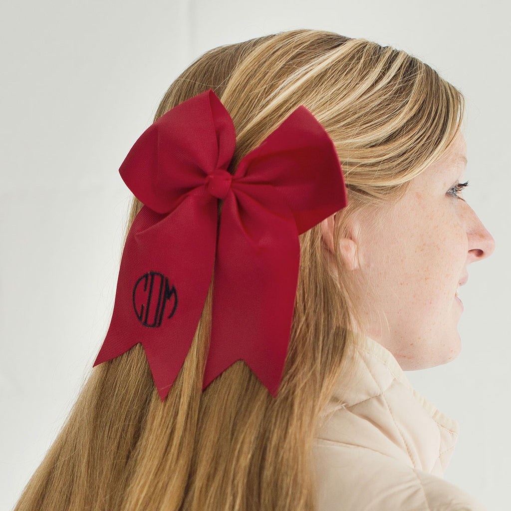 Monogrammed Large Girls Hair Bow - Garnet