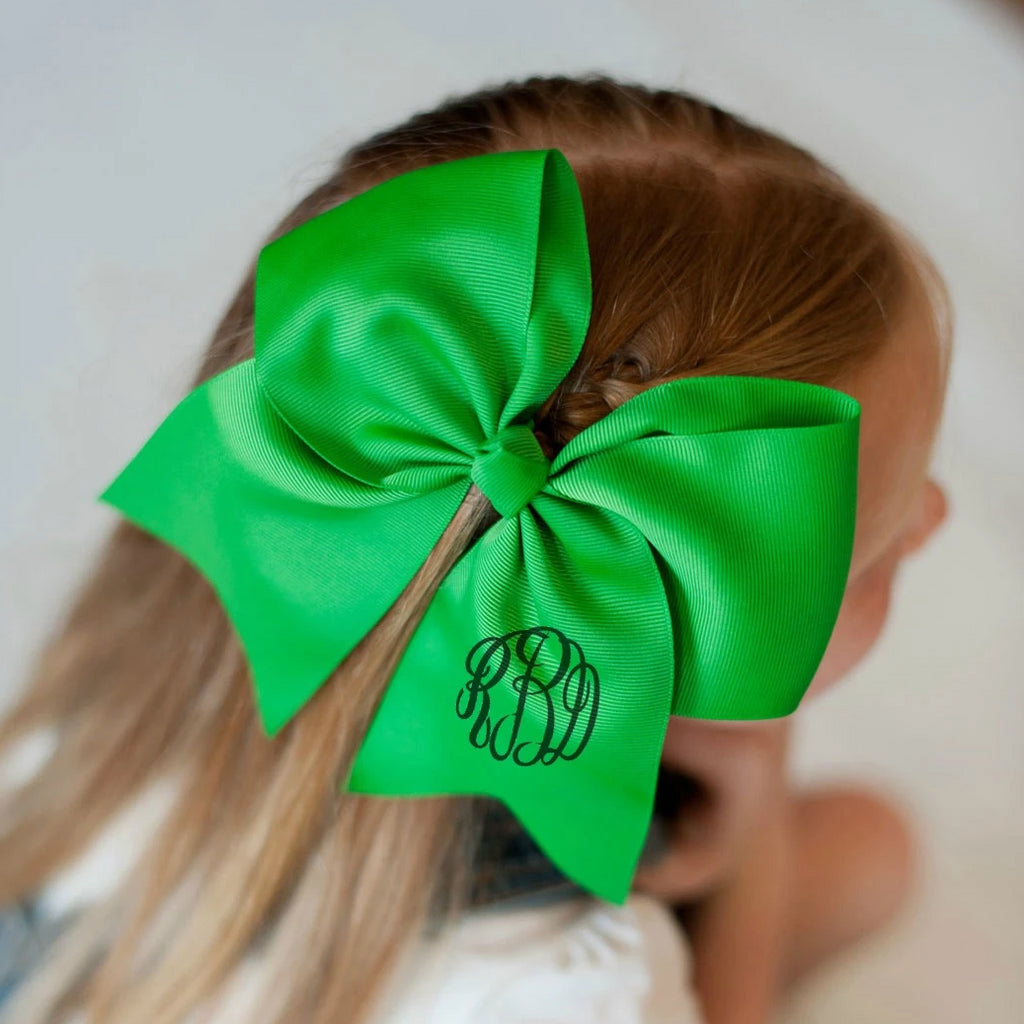 Monogrammed Large Girls Hair Bow - Green