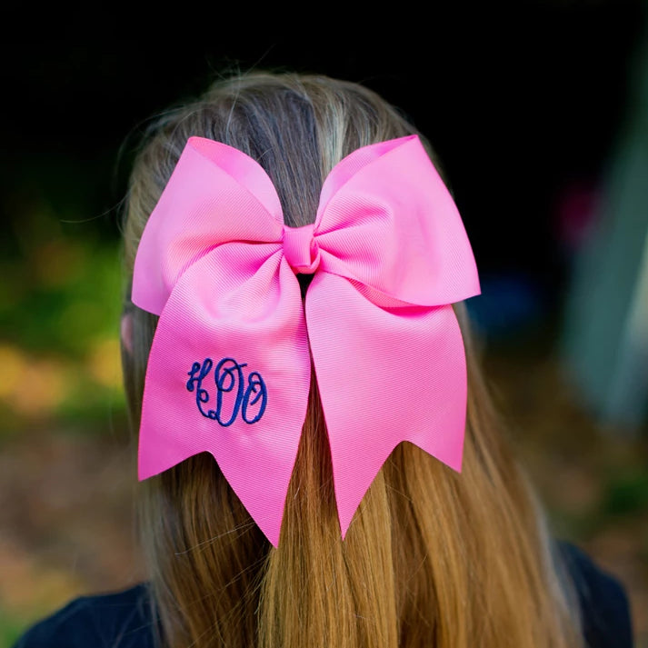 Monogrammed Large Girls Hair Bow - Hot Pink