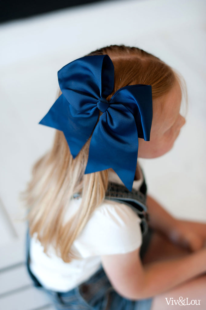 Monogrammed Large Girls Hair Bow - Navy Blue