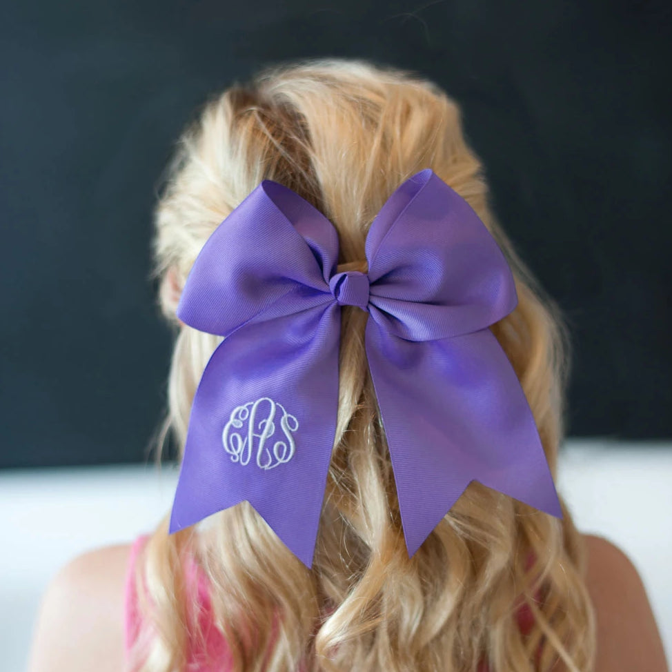 Monogrammed Large Girls Hair Bow - Purple