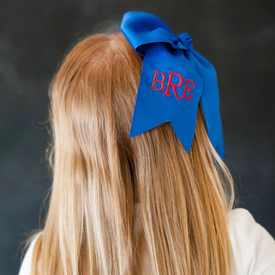 Monogrammed Large Girls Hair Bow - Royal Blue