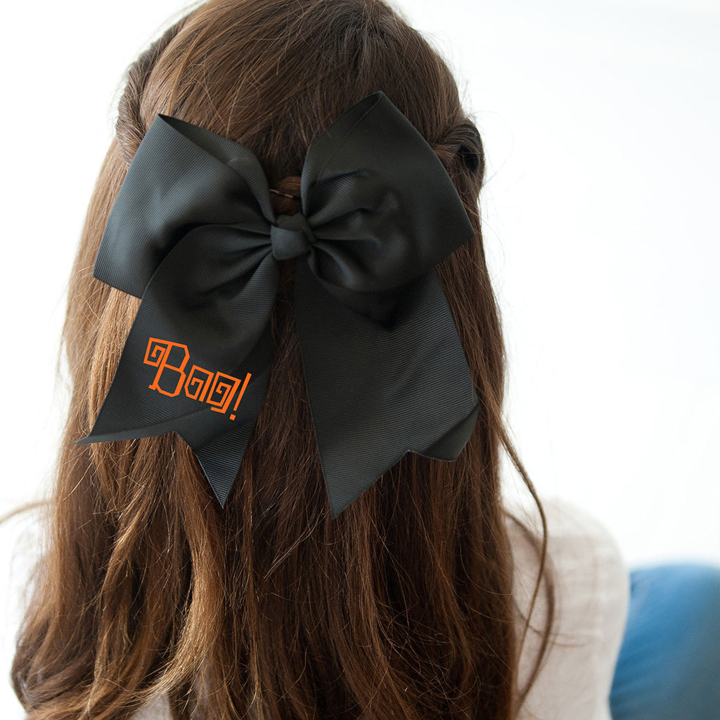Boo! Halloween Black Hair Bow