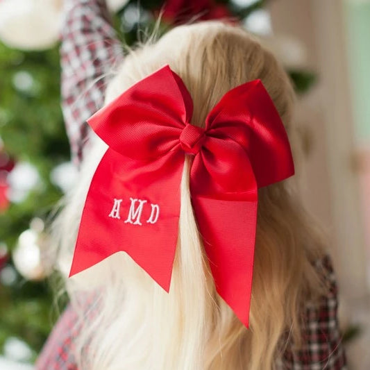 Monogrammed Large Girls Hair Bow - Red