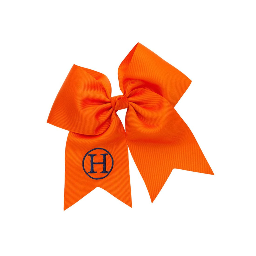 Monogrammed Large Girls Hair Bow - Orange