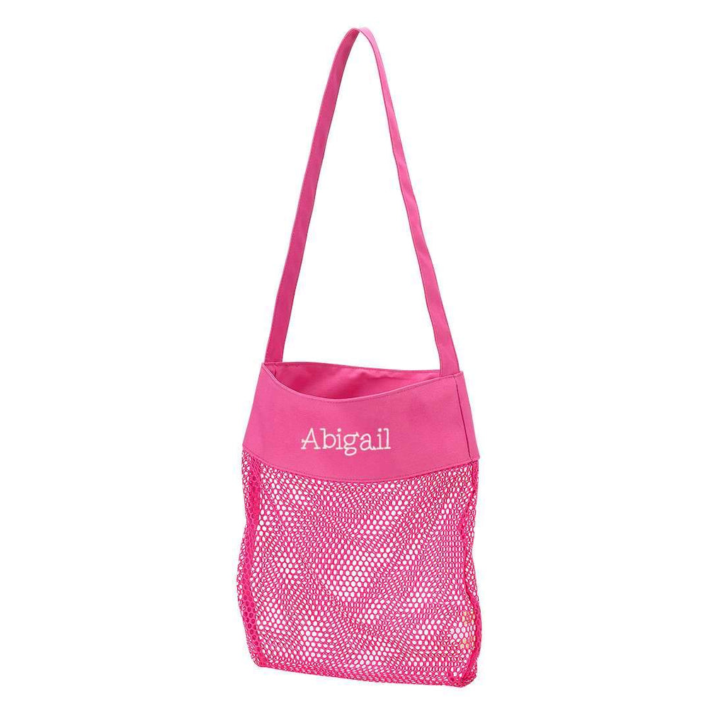 Personalized Kids Sea Shell Mesh Tote Bag - Hot Pink