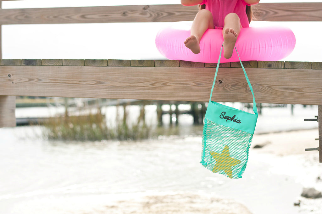 Personalized Kids Sea Shell Mesh Tote Bag - Mint