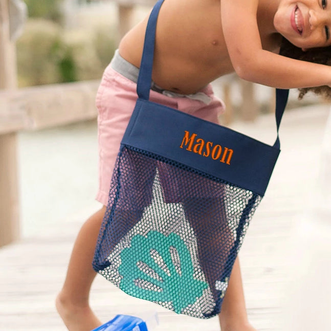 Personalized Kids Sea Shell Mesh Tote Bag - Navy