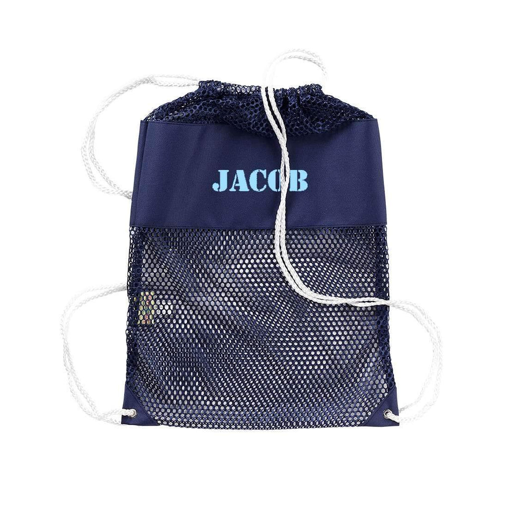 Personalized Kids Mesh Backpack Beach Bag - Navy
