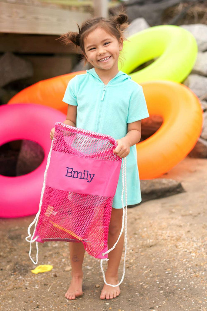 Personalized Kids Mesh Backpack Beach Bag - Pink