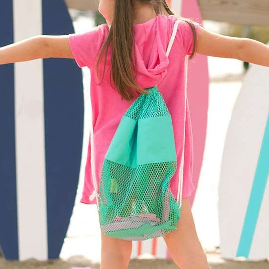 Personalized Kids Mesh Backpack Beach Bag - Mint