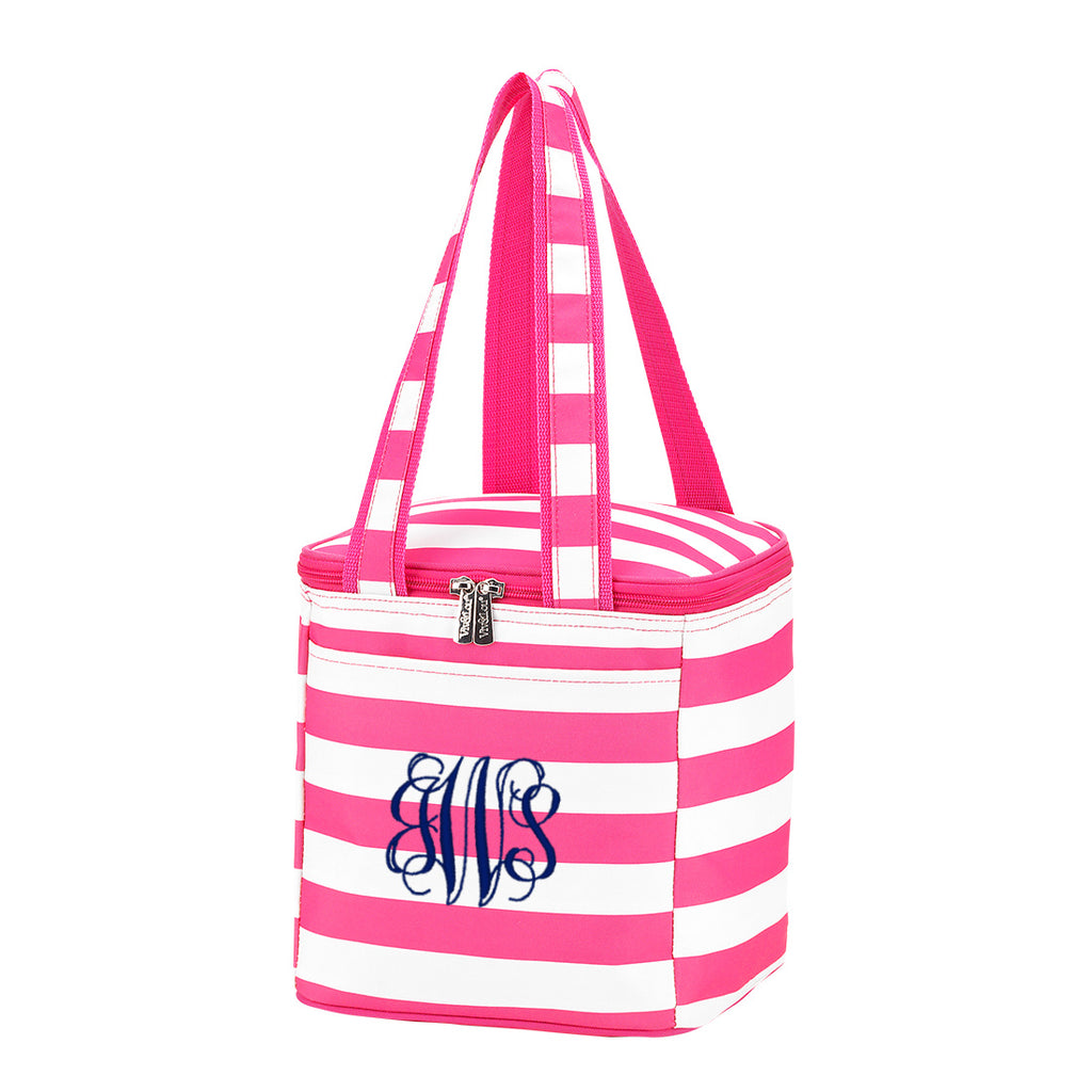 Personalized Cooler Bag - Insulated Tote - Stripe Hot Pink