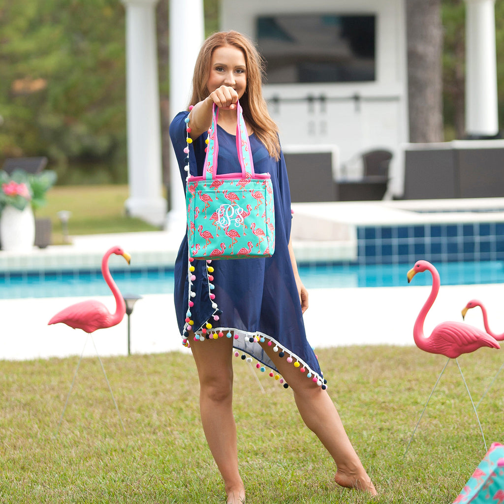 Personalized Cooler Bag - Insulated Tote - Flamingo