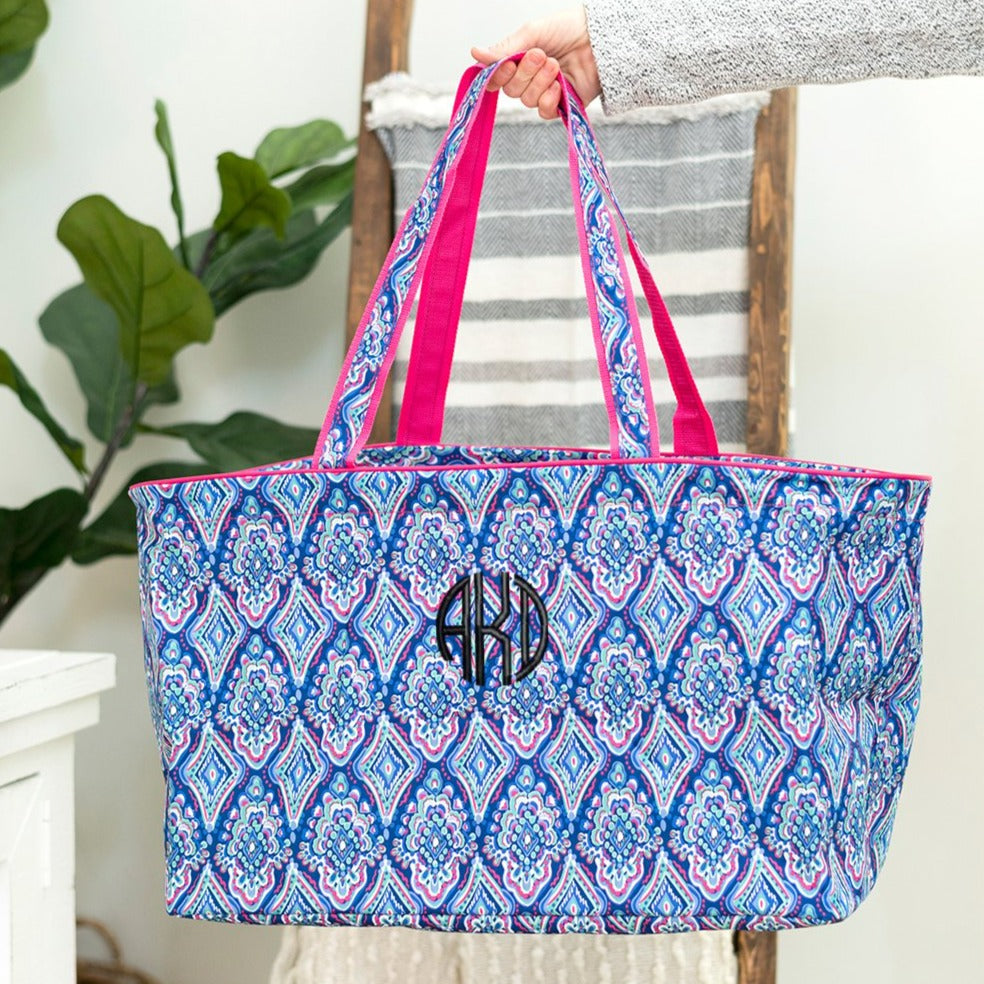 Personalized Large Utility Tote - Beach Bag - Picnic Basket - Boho