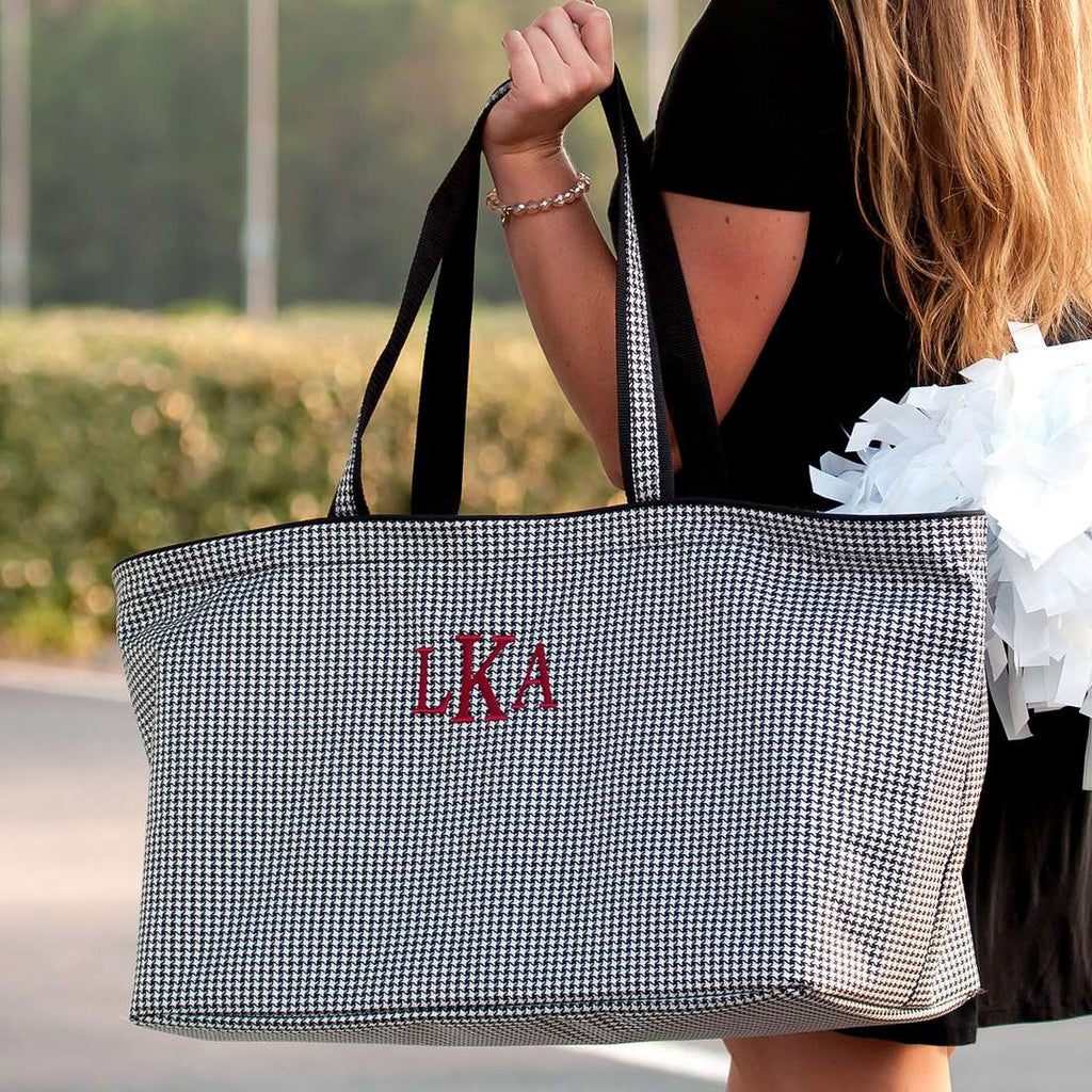 Personalized Large Utility Tote - Beach Bag - Picnic Basket - Houndstooth