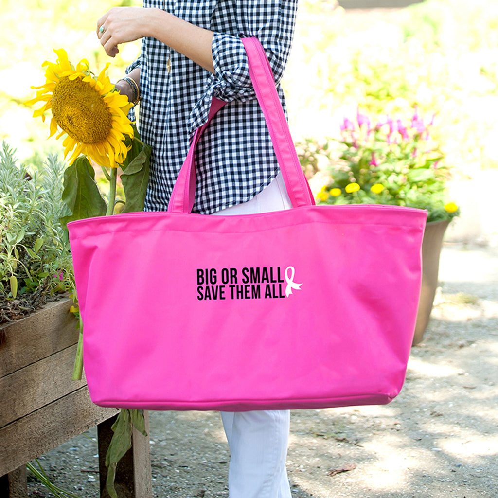 Big or Small, Save them all Hot Pink Ultimate Tote - Breast Cancer Awareness - Pink Ribbon