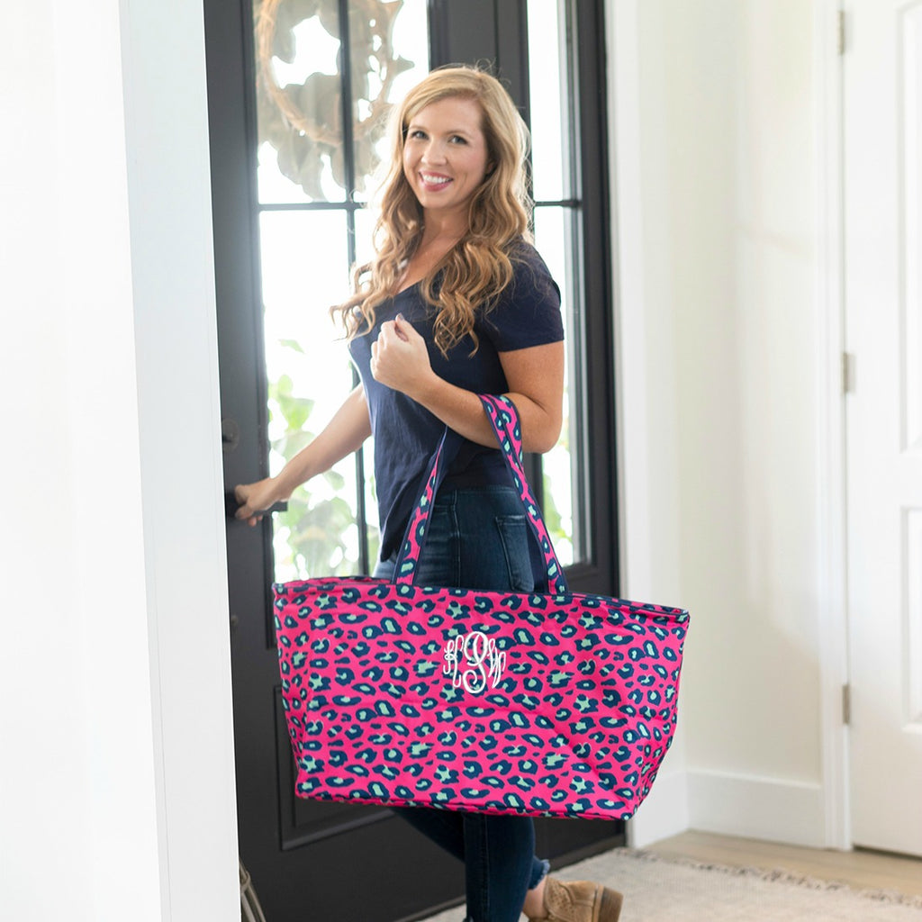 Personalized Large Utility Tote - Beach Bag - Picnic Basket - Hot Pink Leopard