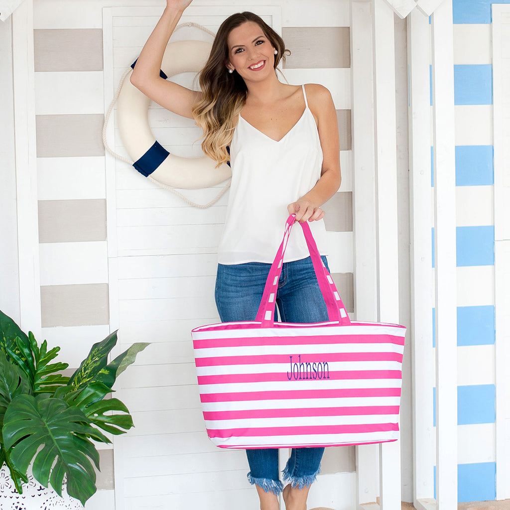 Personalized Beach Bag - Oversize Striped Tote - Large Utility Tote
