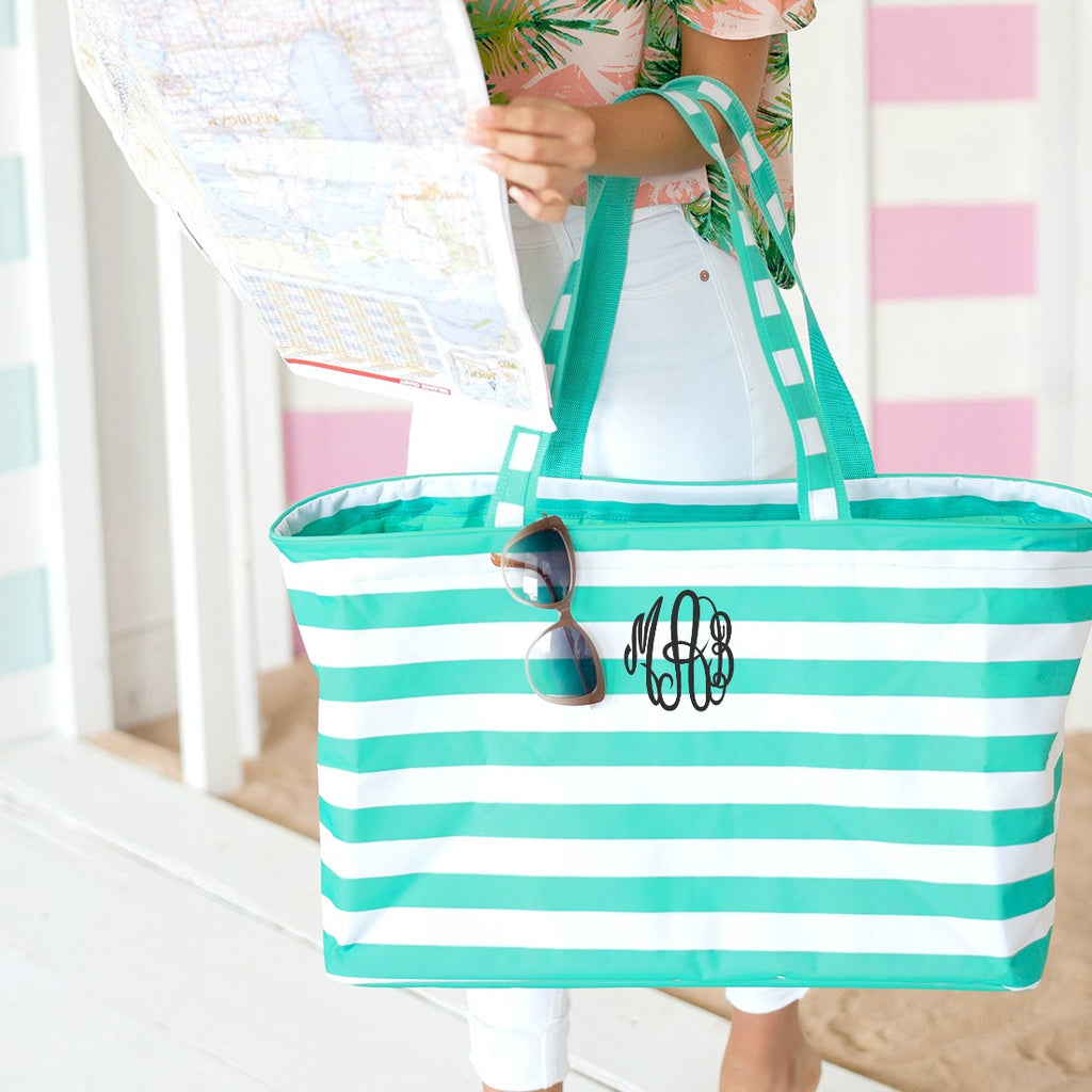Personalized Large Utility Tote - Beach Bag - Picnic Basket - Mint Stripe