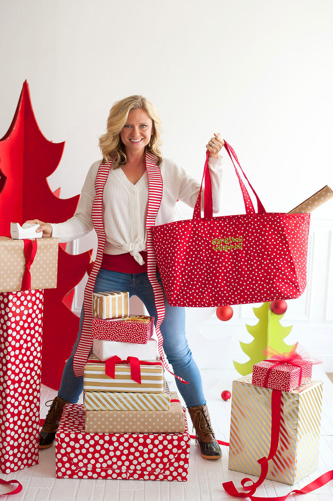 Red Scattered Dot Gangster Wrapper Ultimate Christmas Tote Bag