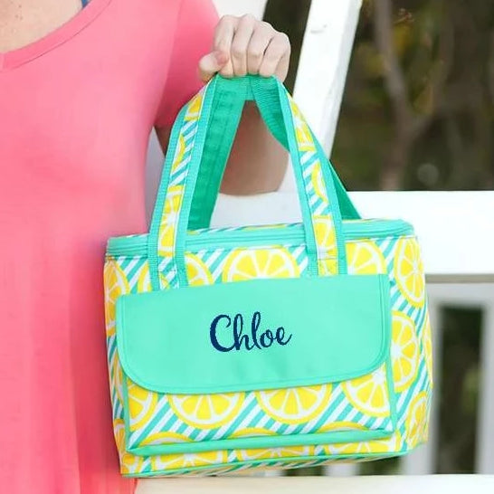 Personalized Insulated Cooler Tote Bag - Lemon Squeeze
