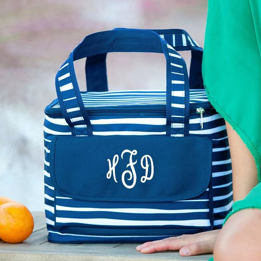 Personalized Insulated Cooler Tote Bag - Tide Navy