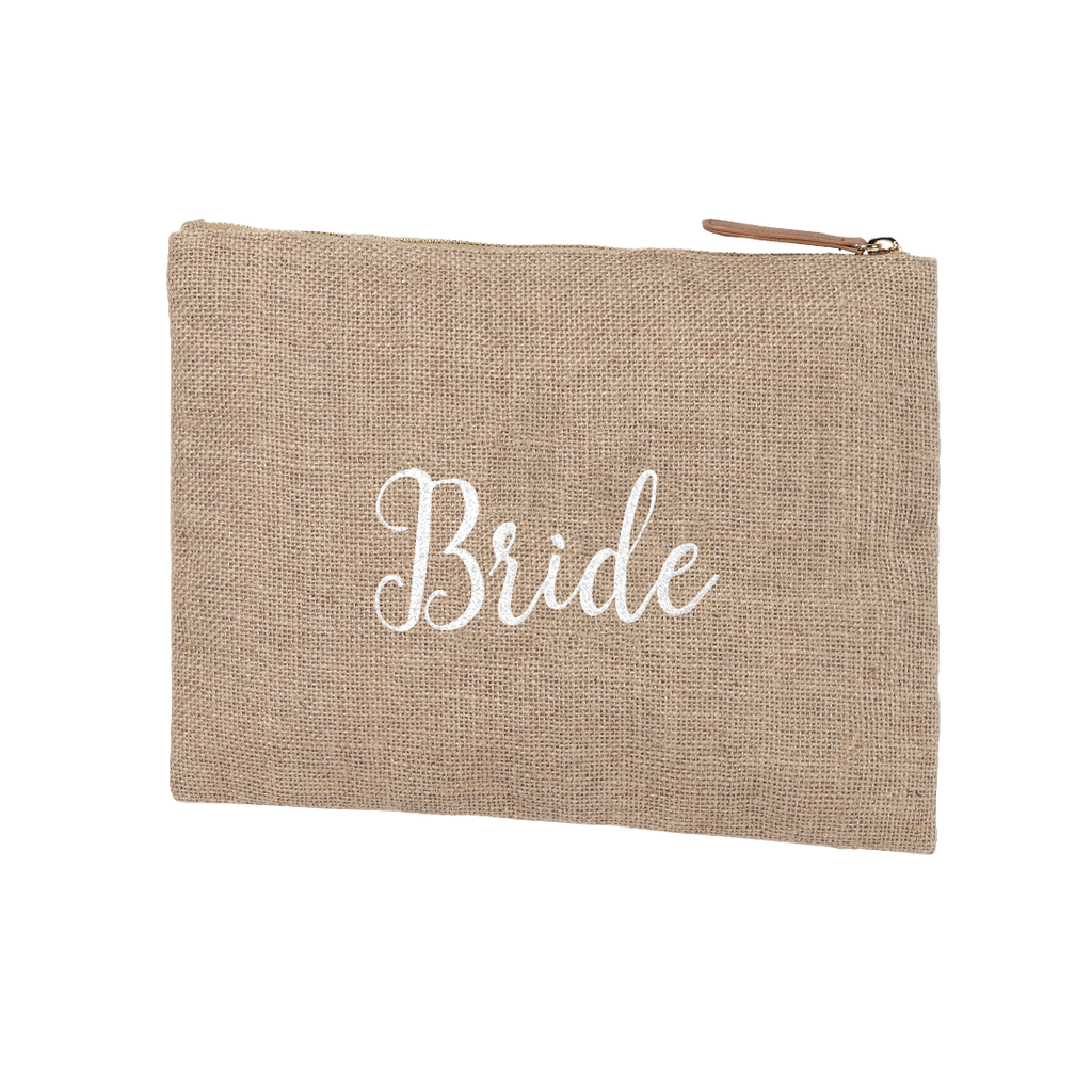 Burlap Zip Pouch Embroidered BRIDE in White Thread