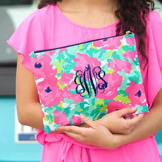 Personalized Large Zip Pouch - Floral Pop