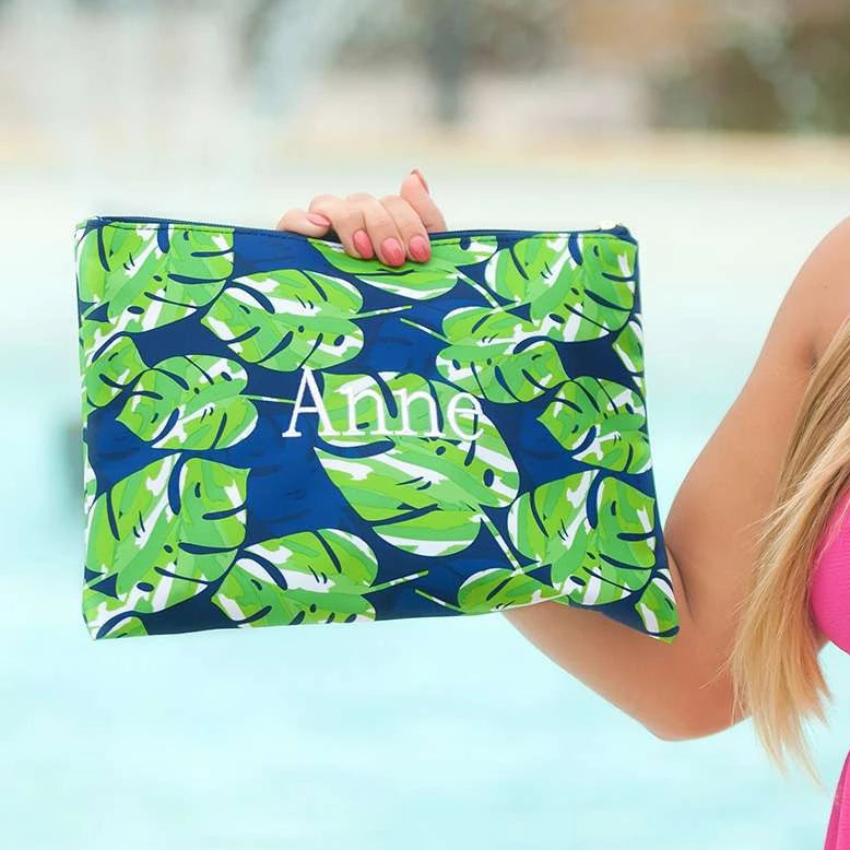 Personalized Large Zip Pouch - Tropical Leaves