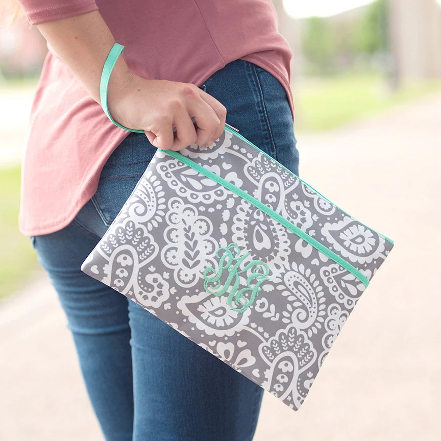 Personalized Zip Pouch Wristlet - Water Resistant - Paisley Gray & Mint