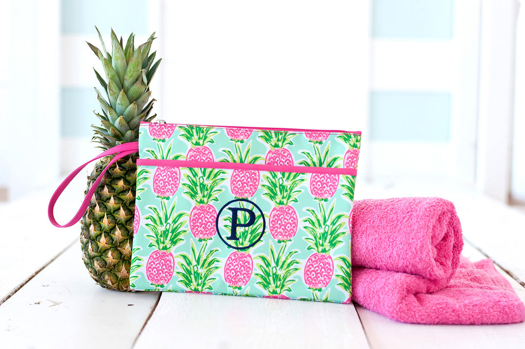 Personalized Zip Pouch Wristlet - Water Resistant - Pineapple