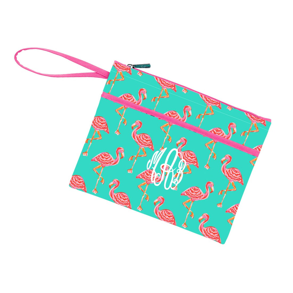 Personalized Zip Pouch Wristlet - Water Resistant - Flamingo