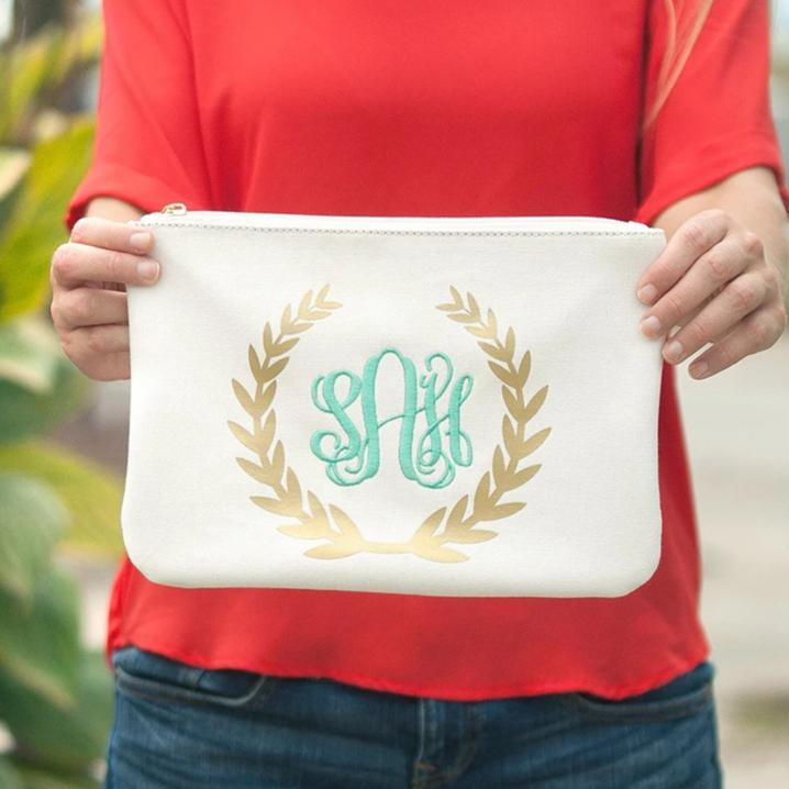 Monogrammed Gold Foil Wreath Zip Pouch - Cosmetic Bag