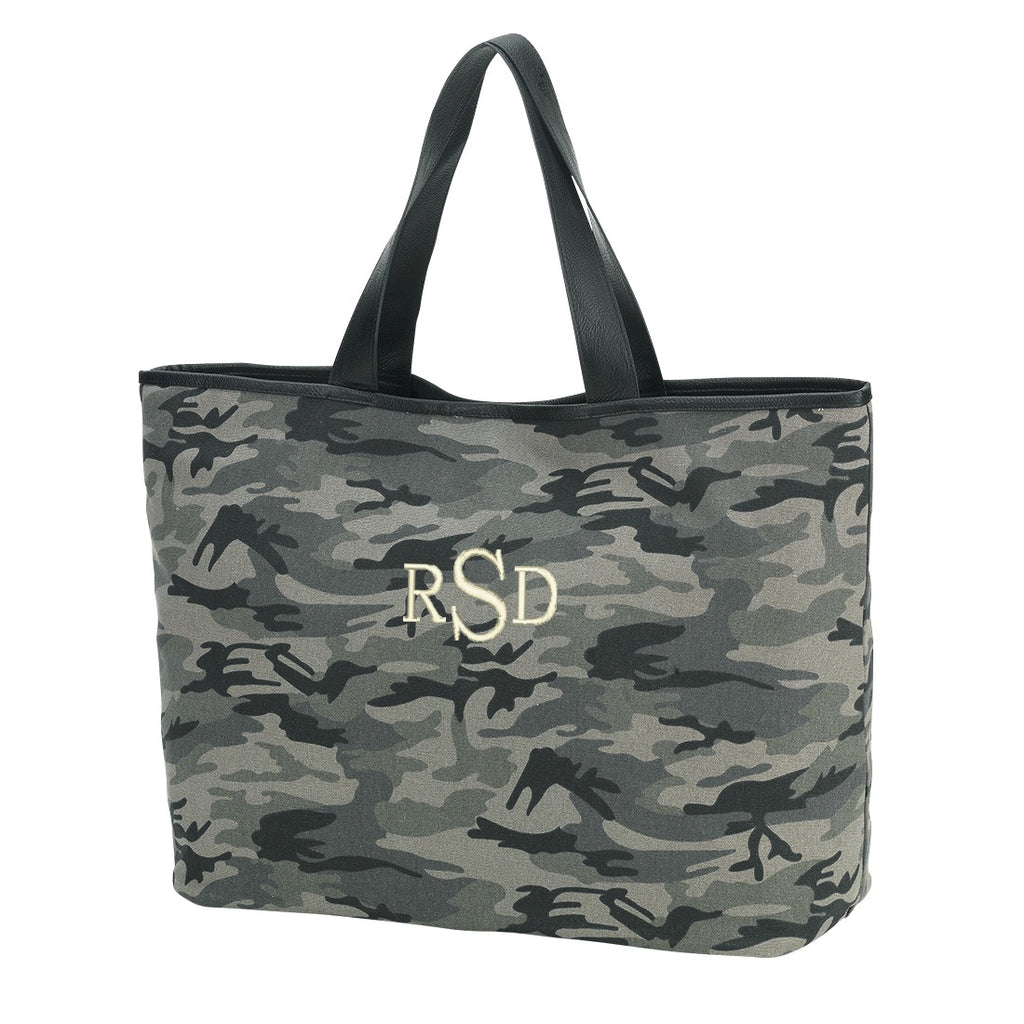 Personalized Large Shoulder Tote Carry All Bag - Black Camo